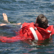 Stormy Life Jacket inflated in the water
